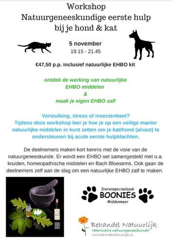 Workshop  Natuurgeneeskundige eerste hulp  bij je hond & kat